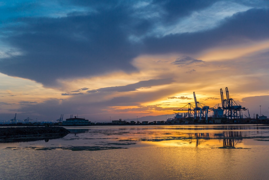 A photograph of sunset over a port in Djibouti