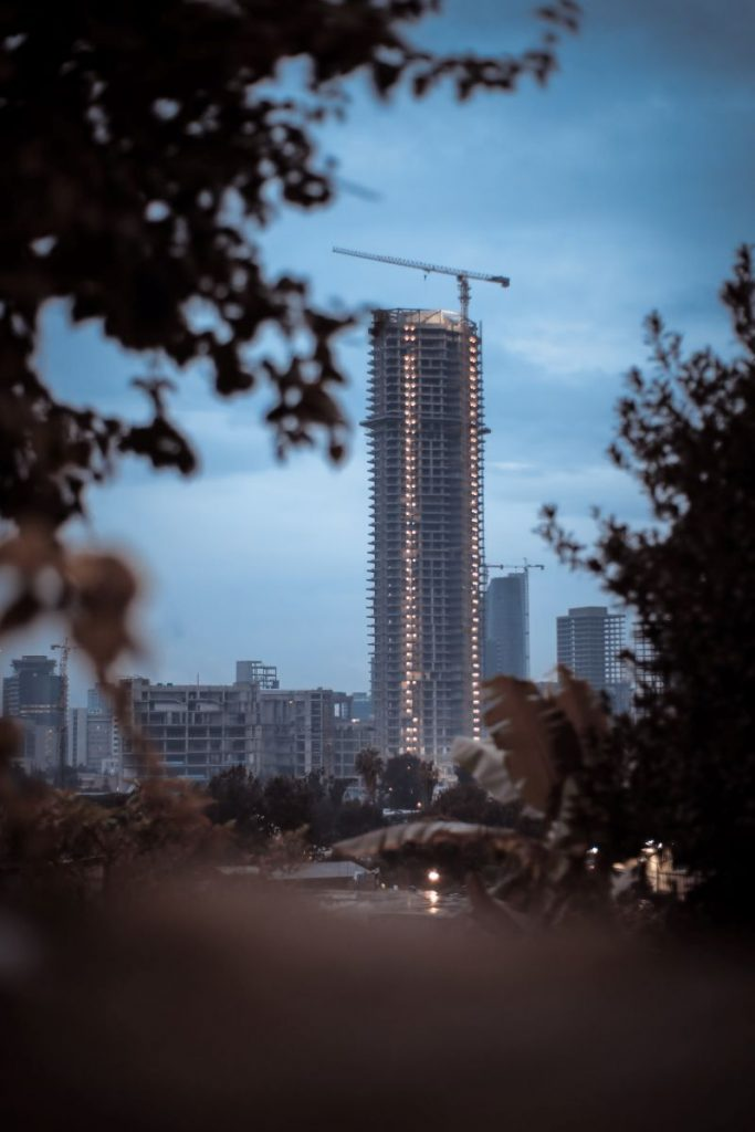 A skyscraper under construction in Addis Ababa