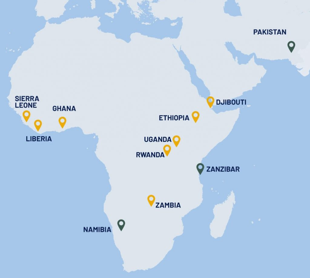 Map of OPF partner countries in Africa and Asia